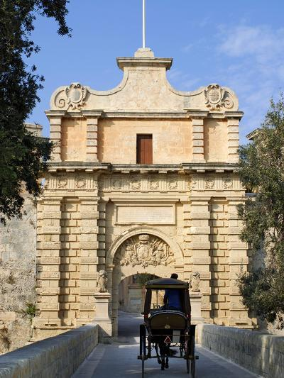 Mdina Gate with Horse Drawn Carriage, Mdina, Malta, Mediterranean, Europe-Stuart Black-Photographic Print