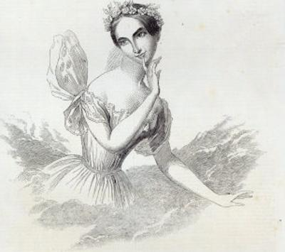 Mdlle Lucile Grahn, from The Illustrated London News, 8th March 1845