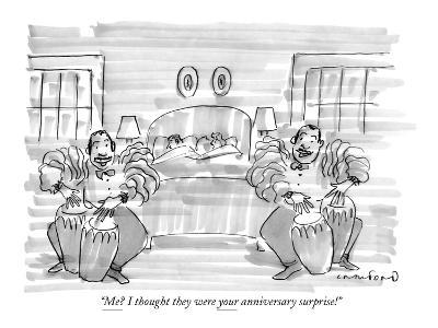 """""""Me? I thought they were your anniversary surprise!"""" - New Yorker Cartoon-Michael Crawford-Premium Giclee Print"""