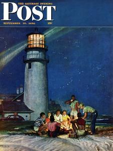 """Beach Bonfire"" Saturday Evening Post Cover, September 16, 1950 by Mead Schaeffer"