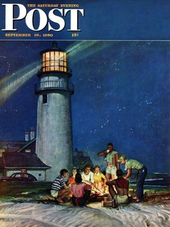 """Beach Bonfire"" Saturday Evening Post Cover, September 16, 1950"