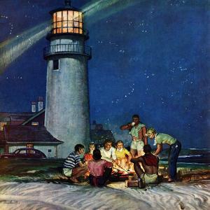 """""""Beach Bonfire"""", September 16, 1950 by Mead Schaeffer"""