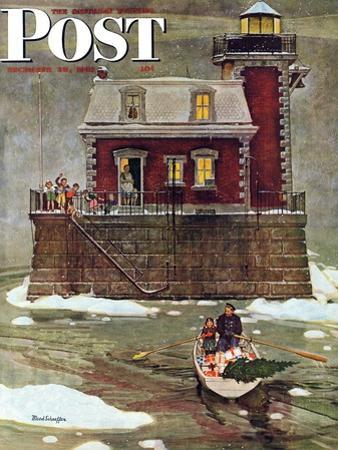 """Christmas at the Lighthouse,"" Saturday Evening Post Cover, December 28, 1946 by Mead Schaeffer"