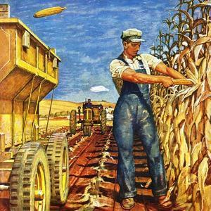 """Corn Harvest,"" October 9, 1948 by Mead Schaeffer"