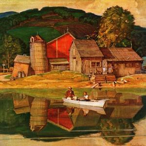 """""""Farm Pond Landscape,"""" July 28, 1945 by Mead Schaeffer"""