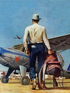 """""""Flying Cowboy,"""" May 17, 1947 by Mead Schaeffer"""