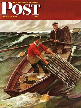 """Lobstermen,"" Saturday Evening Post Cover, March 9, 1946 by Mead Schaeffer"