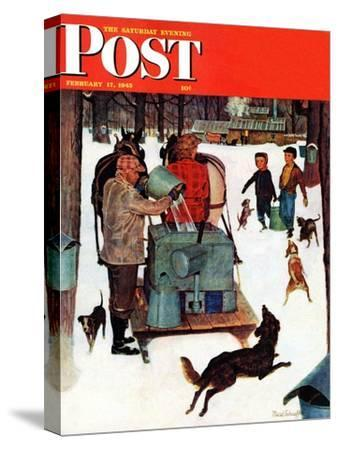 """""""Maple Syrup Time in Vermont,"""" Saturday Evening Post Cover, February 17, 1945"""