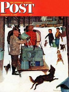 """Maple Syrup Time in Vermont,"" Saturday Evening Post Cover, February 17, 1945 by Mead Schaeffer"