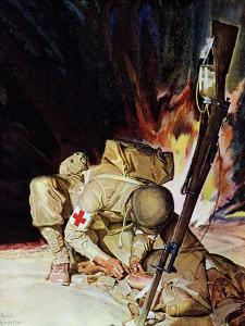 """""""Medic Treating Injured in Field,"""" March 11, 1944 by Mead Schaeffer"""