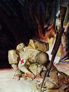 """Medic Treating Injured in Field,"" March 11, 1944 by Mead Schaeffer"
