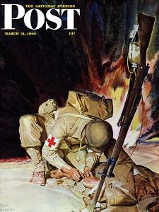 """""""Medic Treating Injured in Field,"""" Saturday Evening Post Cover, March 11, 1944 by Mead Schaeffer"""