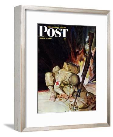 """Medic Treating Injured in Field,"" Saturday Evening Post Cover, March 11, 1944"