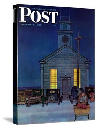 """Rural Church at Night,"" Saturday Evening Post Cover, December 30, 1944"