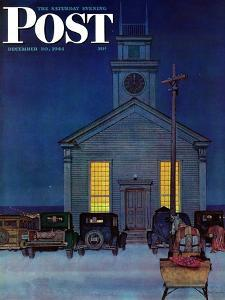 """Rural Church at Night,"" Saturday Evening Post Cover, December 30, 1944 by Mead Schaeffer"