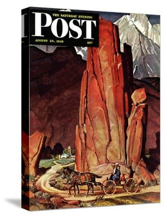 """""""Sailor Comes Home to Mountain Ranch,"""" Saturday Evening Post Cover, August 25, 1945"""