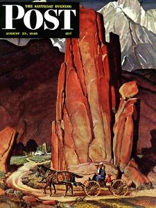 """Sailor Comes Home to Mountain Ranch,"" Saturday Evening Post Cover, August 25, 1945 by Mead Schaeffer"