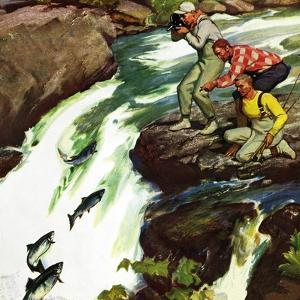 """Salmon Running Upstream"", May 17, 1952 by Mead Schaeffer"