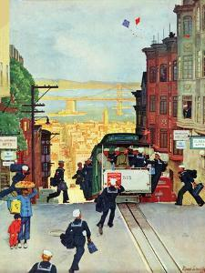 """""""San Francisco Cable Car,"""" September 29, 1945 by Mead Schaeffer"""
