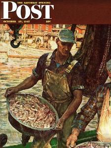 """Shrimpers,"" Saturday Evening Post Cover, October 25, 1947 by Mead Schaeffer"