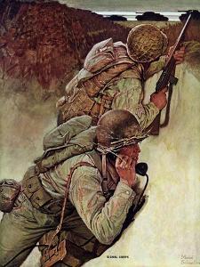 """""""Signal Corpsmen During Battle,"""" September 9, 1944 by Mead Schaeffer"""