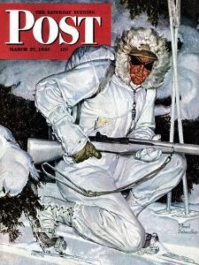 """Ski Patrol Soldier,"" Saturday Evening Post Cover, March 27, 1943 by Mead Schaeffer"