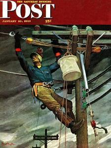 """""""Telephone Lineman,"""" Saturday Evening Post Cover, January 10, 1948 by Mead Schaeffer"""