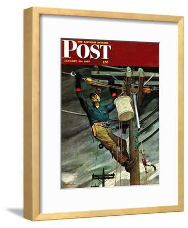"""Telephone Lineman,"" Saturday Evening Post Cover, January 10, 1948"