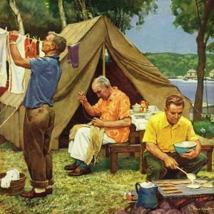 """Three Generations Camping"", May 30, 1953 by Mead Schaeffer"