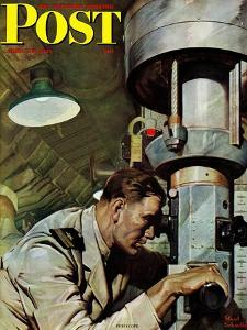 """Up Periscope!,"" Saturday Evening Post Cover, April 22, 1944 by Mead Schaeffer"