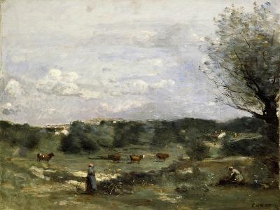 Meadow with Cows, a Willow on the Right and a Distant Village-Jean-Baptiste-Camille Corot-Giclee Print