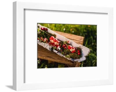 meadow, wooden box, autumnal decoration, rose hips, mushrooms, moss, detail,-mauritius images-Framed Photographic Print