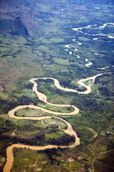 Meandering Wamena River, Baliem Valley, West Papua, Indonesia-Reinhard Dirscherl-Photographic Print