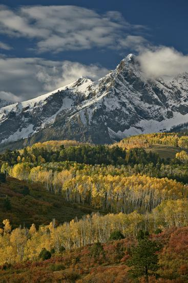 Mears Peak with Snow and Yellow Aspens in the Fall-James Hager-Photographic Print