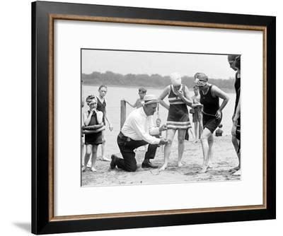 Measuring Bathing Suits, C.1922--Framed Photographic Print
