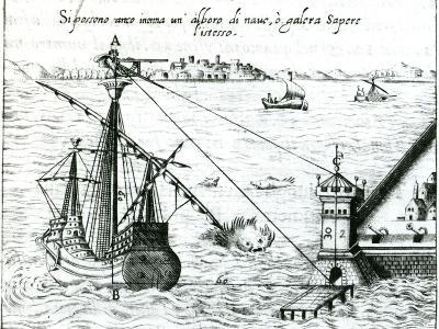 Measuring the Distance from Ship to Shore, Using a Quadrant Marked with Shadow-Scales, 1598--Giclee Print