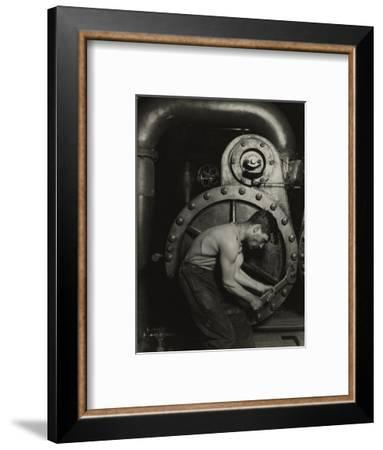 Mechanic and steam pipe, 1921 (silver gelatin print)-Lewis Wickes Hine-Framed Giclee Print