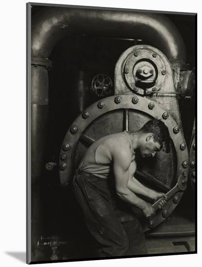 Mechanic and steam pipe, 1921 (silver gelatin print)-Lewis Wickes Hine-Mounted Giclee Print
