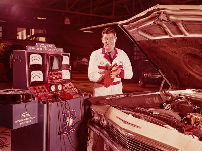 Mechanic in Service Station, Testing Car Engine-H^ Armstrong Roberts-Photographic Print