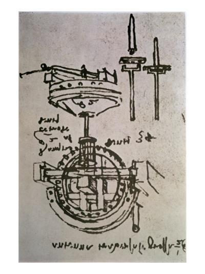 Mechanical Drawings No.3-Leonardo da Vinci-Giclee Print