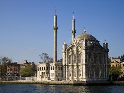 Mecidiye Mosque Stands on Water's Edge at Ortakoy, One of Pretty Bosphorus Villages in Istanbul-Julian Love-Photographic Print