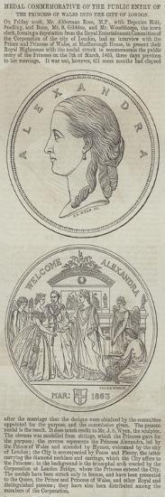 Medal Commemorative of the Public Entry of the Princess of Wales into the City of London--Giclee Print