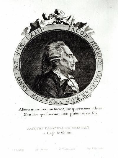 Medallion Portrait of Giacomo Casanova Age 63, 1788-Johann Berka-Giclee Print