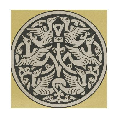 Medallion with Interwoven Birds Design--Art Print