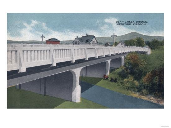 Medford, Oregon - Bear Creek Bridge View-Lantern Press-Art Print