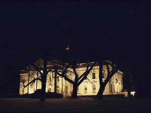 A Night View of the White House Decorated for the Holidays by Medford Taylor