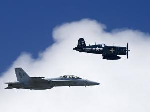 Navy F-18 and a WWII Vintage F4U Corsair at the Nas Oceana Airshow by Medford Taylor