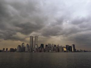 Storm Clouds over Lower Manhattan from the New Jersey Shore by Medford Taylor
