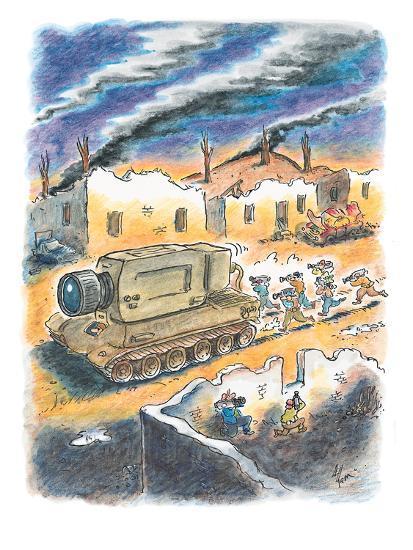 Media cameramen run behind tank with a giant camera instead of a gun. - New Yorker Cartoon-Frank Cotham-Premium Giclee Print