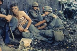 Medic Treats a US Marine's Wounds During Operation Hue City, Tet Offensive, Feb. 1969